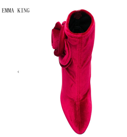EMMA KING 2018 New Fashion Flock Flower Pointed Toe Ankle Thin High Heel Women Boots Spring Autumn ladies party wedding shoes