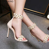 Image of EMMA KING 2018 Rivets String  Bead Ankle Strap  Pumps Sexy Open Toe High Heels Sandals Party Wedding Thin Heels Shoes Size 35-43