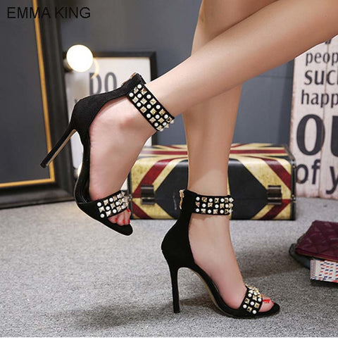 EMMA KING 2018 Rivets String  Bead Ankle Strap  Pumps Sexy Open Toe High Heels Sandals Party Wedding Thin Heels Shoes Size 35-43