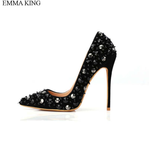 EMMA KING 2018 Shallow Pointed Toe Thin High Heels Sexy Rivets Spike Women Party Shoes Classical Fashion Studs Lady Party Pumps