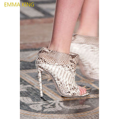 b14b49203e7 2018 The Hottest Sexy Snake Skin Shoe Woman Sandals Peep Toes High Heels Women  Pumps Chaussure ...