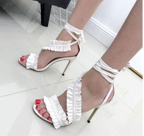 fb0d75ec435 Ankle Strap High Heels Sandals Women Ruffles Sandals Summer shoes Solid  Lace-Up Chaussure Femme Talon zapatos de mujer
