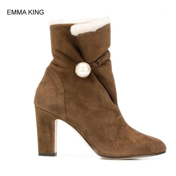fef6a8e5f0aa4 ... EMMA KING Big Pearl Buckle Ankle Boots Women Square High Heels Round  Toe Ladies Botas Winter