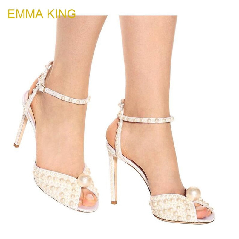 31fc248177374 EMMA KING Big Size 35-43 Sandal Women's Shoes Fashion Crystal Pearls High  Heel Zapatos De Mujer Peep Toe Party Ladies Shoes