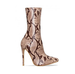 65681c82284 EMMA KING Boots fashion New Women Snake Skin Pointed Toe Mid-calf Zipper  Side Stiletto ...