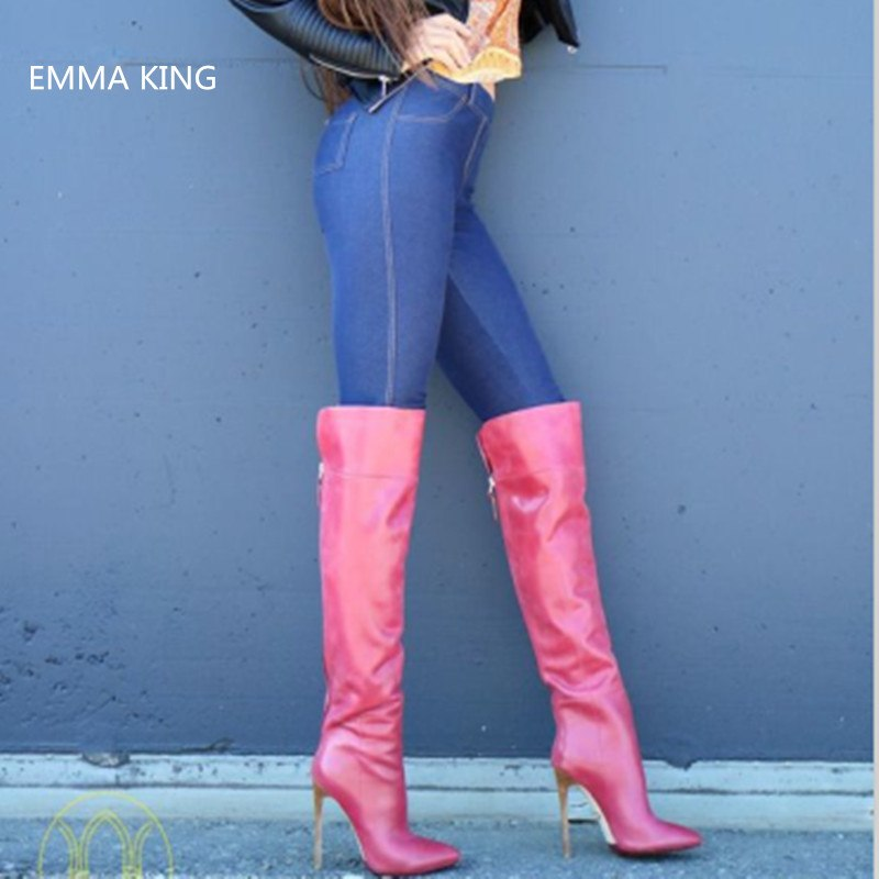 616f32ad57 EMMA KING Botas Invierno Mujer Stiletto High Heels Women Boots Pointed Toe  Thigh Boots Zipper Fashion. Hover to zoom