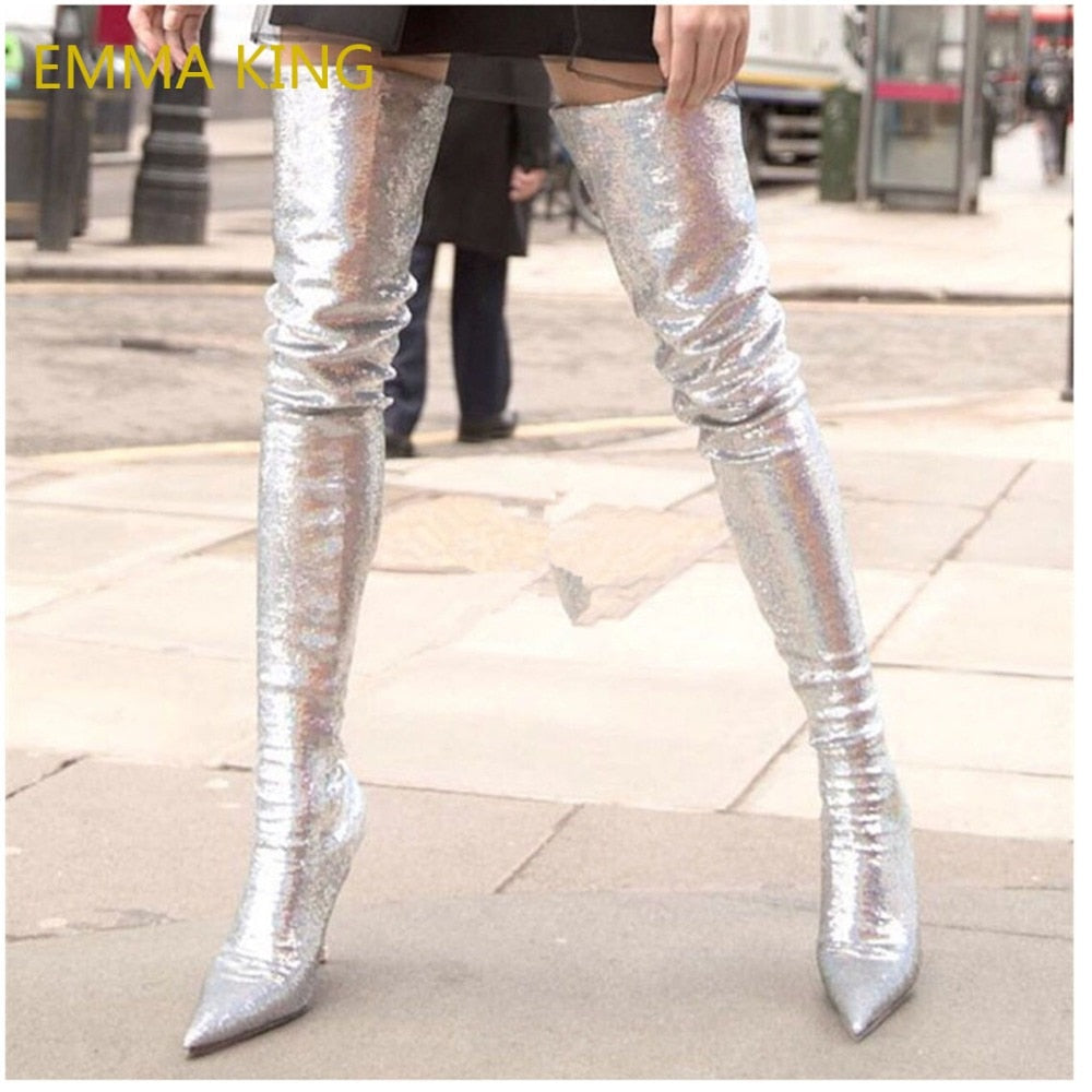 EMMA KING Brand Woman s Shoes 2018 Autumn Big Size 43 Stretch Boots Women  Sexy Sequins Over ... 2d650f3c7015