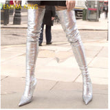 EMMA KING Brand Woman's Shoes 2018 Autumn Big Size 43 Stretch Boots Women Sexy Sequins Over The Knee Long Sock Boots High Heels