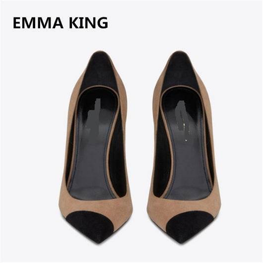 EMMA KING Classic Suede Leather Patchwork Women Pumps Shallow Pointed Toe Thin High Heels Formal Dress Office Ladies Shoes Women
