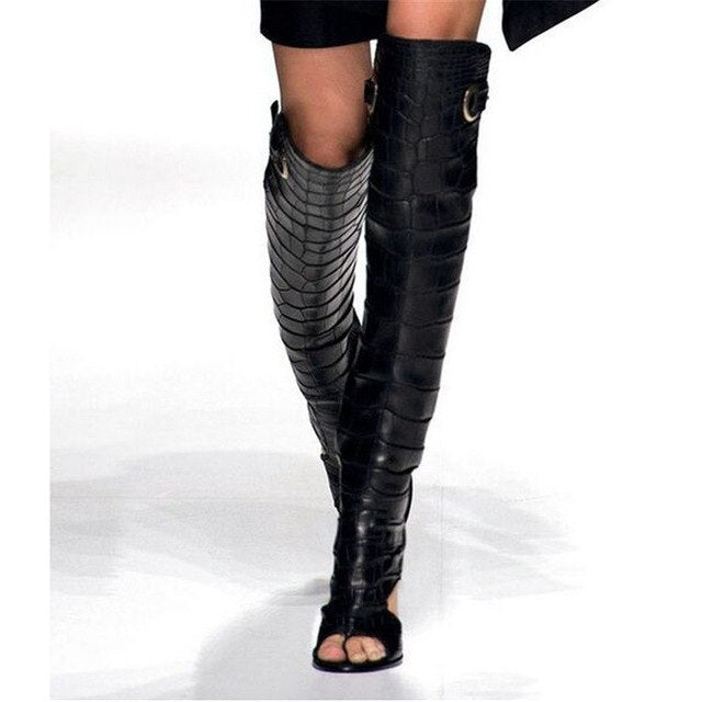 81d2d39df5 ... Thigh High Boots Women Chunky Heels Back Lace Up Cutouts. Hover to zoom