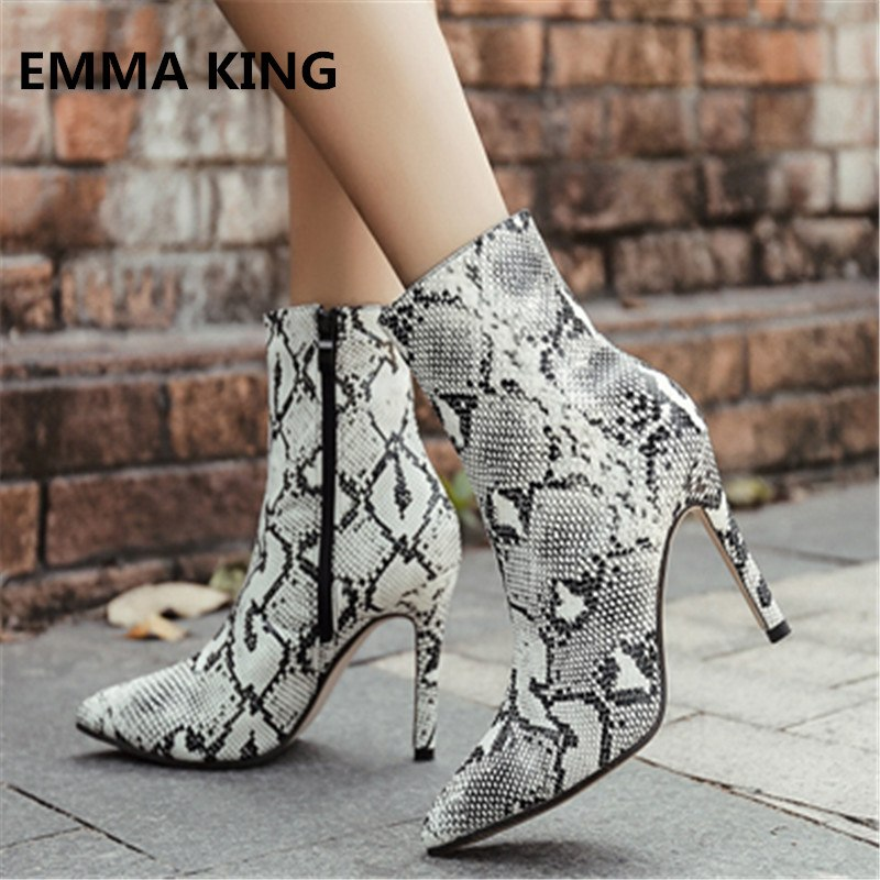 6a8f9f1ae84a Hover to zoom · EMMA KING Latest Snakeskin Booties Women Python Pattern ...