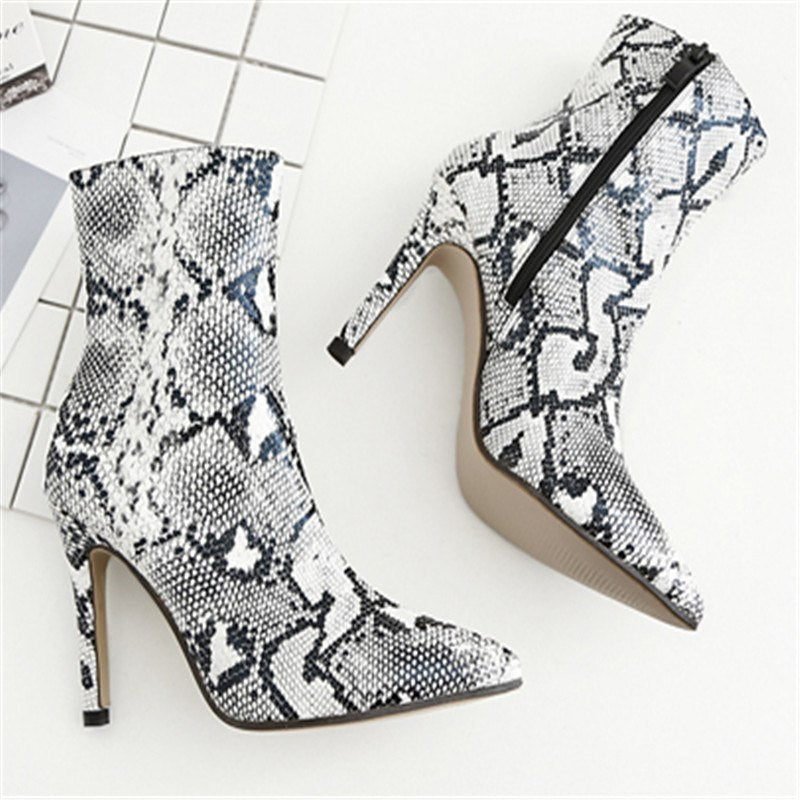 a192d6204f1 EMMA KING Latest Snakeskin Booties Women Python Pattern Pointed Toe High  Heels Zipper Detail Women Night Club Party Shoes