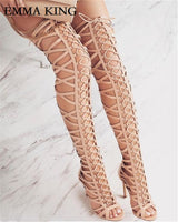 EMMA KING Multi Color Cut Out Design Gladiator High Heels Sandals Open Toe Designer High Heel Thigh High Boots Women Runway Shoe