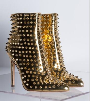 5d09ad787 EMMA KING New Fashion Rivet Boots Woman High Heels Ankle Boots ...