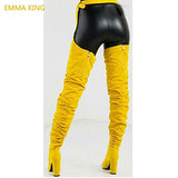EMMA KING New Solid Suede Women Over The Knee Long Boots Pointed Toe Lady Belt Thigh High Boots Chunky High Heels Shoe Woman