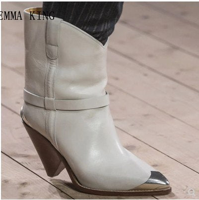 New Style Metal Cover Pointed Toe Strange Style Heels Ankle Boots Women Shoes Winter Booties Fashion zapatos de mujer