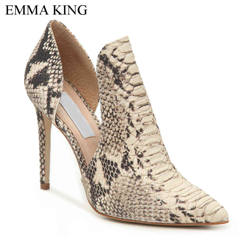 de0c65644e5 EMMA KING Pointed Toe Snake skin Party Sexy High Heels Female Sandals Pumps  Wedding Shoes Big Size 43 Autumn Thin Heels Slip On