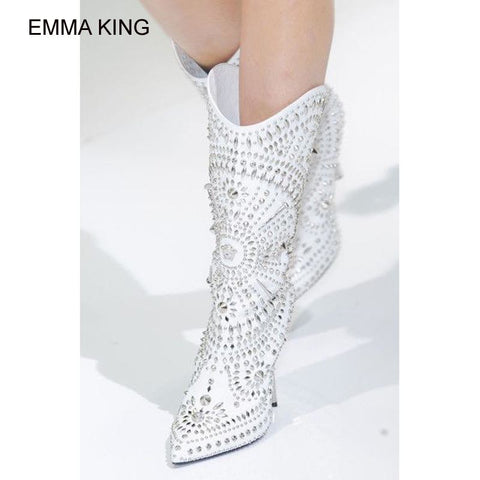 EMMA KING Rivet Mid Calf Boots Women Metal Thin High Heels Pointed Toe Winter Warm Mujer Botas Slip On Model Show Fashion Shoes