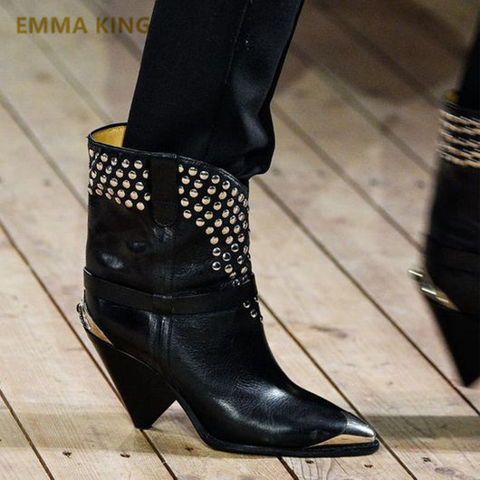 EMMA KING Rivets Metal Pointed Toe Genuine Leather Mid Calf Boots Spike Heels Slip On Size 35-43 Party Women's Winter Boots