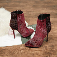 EMMA KING Sexy Pointed Toe Women Ankle Boots Crystal Rivet Studded Cutouts Thin High Heels Stiletto Wine Red Shoes Women