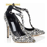 EMMA KING Silver Crystal Rhinestones Pumps Shoes Woman T-Strap Ankle Wedding Party Ladies Shoes High Heels Sapato Feminino