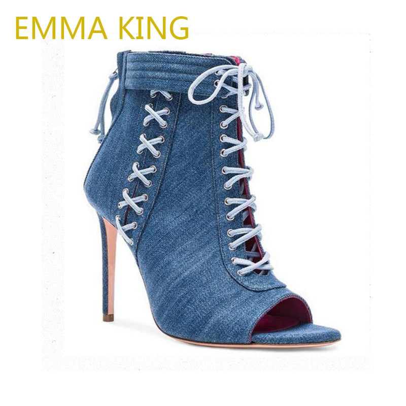 1a8fdb11141e EMMA KING Women Denim Jeans Lace Up Ankle Boots Plus Size High Heel Zipper  Fashion Woman ...