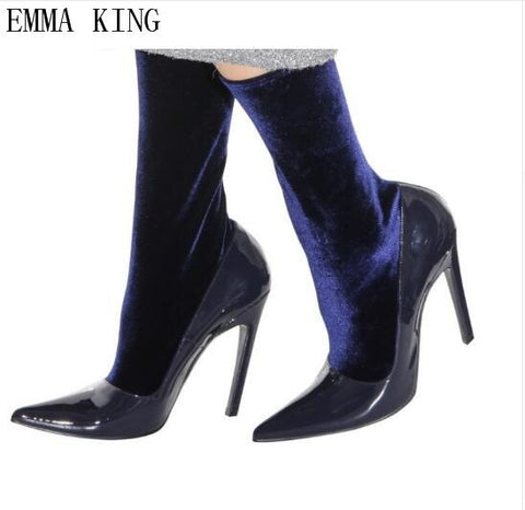 EMMA KING Women's Boots Pointed Toe Stretch Fabric  Ankle Boots  Heel High Heels Shoes Woman Female Spring Autumn Socks Boots