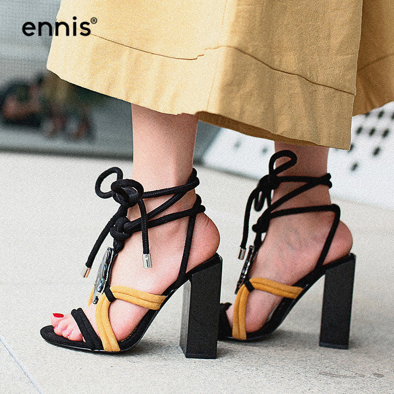 e6a9b6a74 Hover to zoom · ENNIS 2018 New Summer Sexy Women Super High Heel Sandals  Lace Up Gladiator Sandals ...