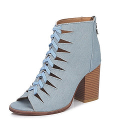 EOEODOIT 2018 New Denim Boots Summer Autumn High Chunky Heel Peep Toe Ankle Hollow Out Pumps Shoes Plus Size 42 43