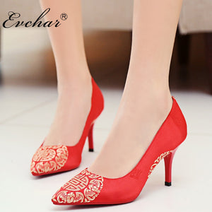 c345d43e67 EVCHAR Chinese style wedding shoes embroidered silk fashion elegant  comfortable pointed toe red party woman pumps ...