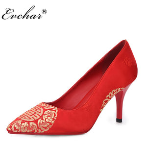bac5f4326c ... EVCHAR Chinese style wedding shoes embroidered silk fashion elegant  comfortable pointed toe red party woman pumps