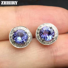 Earrings Natural Blue Tanzanite Genuine Gemstone Solid 925 Sterling Silver Real Earrings Women Fine Jewelry ZHHIRY
