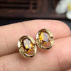 Image of Earrings Natural Yellow Citrine Genuine Gemstone Solid 925 Sterling Silver Real Earrings Women Fine Jewelry ZHHIRY