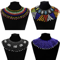 Egyptian Ethnic Bead Bib Collar Neck African Multicolors Beaded Tassel Choker Necklace Statement Maxi Jewelry Tribal Halloween