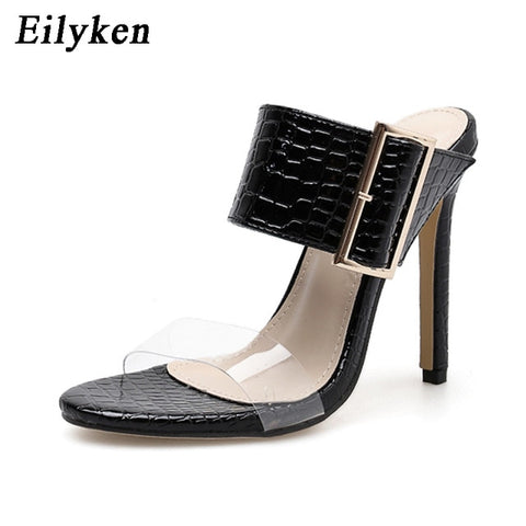 Eilyken 2019 New Spring Summer Sexy Slippers Fashion Buckle Strap Women Slippers Pumps 11cm  High Heels Black Party Shoes