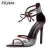 Image of Eilyken 2019 New Woman Snake Pattern Sandals Super High Thin Heels Ladies Summer Slides Outdoor Fashion Party Shoes