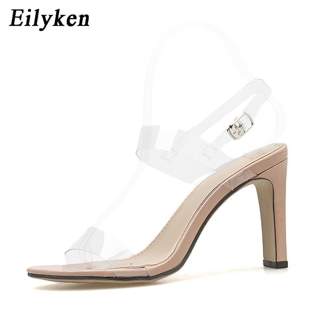 dc475c3fedc Eilyken 2019 PVC Jelly Sandals Open Toed High Heels Fashion Women  Transparent Heel Sandals Party Pumps 11CM Lemon yellow