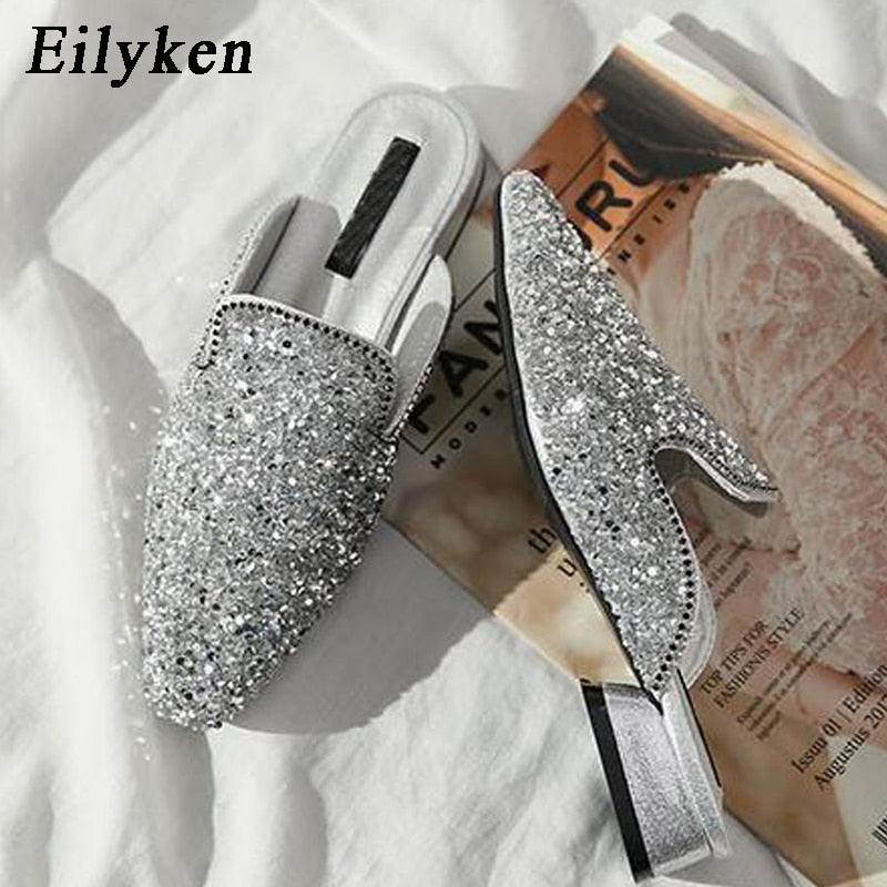 13df84edabe Eilyken Elegant Round Toe Slippers Flat Shoes Women Bling Women Square heel  Fashion Slip on Ladies ...