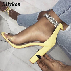 Eilyken Fashion Yellow Women Sandals High Heels PVC Clear Crystal Concise Classic Zip High Quality Shoes size 35-40