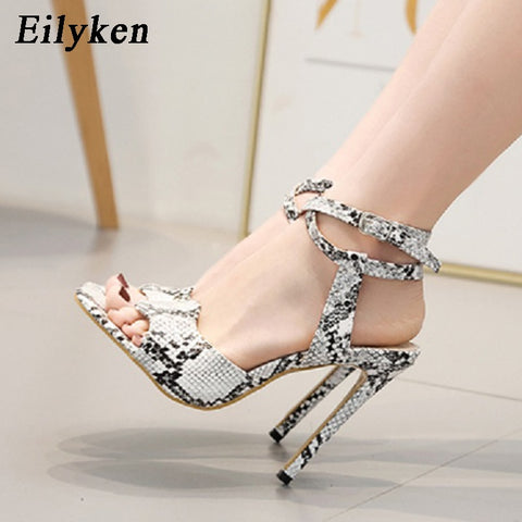 Eilyken New Design Animal Prints Snakeskin grain Elegant Sandals High Heels Sexy Buckle Strap Woman Sandals Shoes Heel 12CM