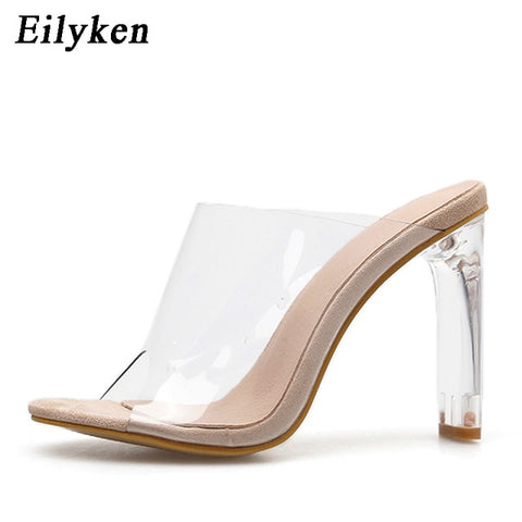 Eilyken New Summer Gladiator Sandals Women Crystal Square heel slippers Fashion Women's Sandals Slip-On Slides shoes size 35-42