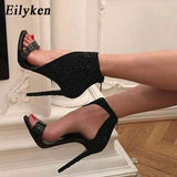Eilyken New Women Crystal Sandals Ankle Straps High Heels Transparent Zip Cover Pumps Ladies Sandals Party Shoes Size 35-40