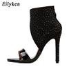 Image of Eilyken New Women Crystal Sandals Ankle Straps High Heels Transparent Zip Cover Pumps Ladies Sandals Party Shoes Size 35-40