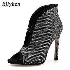 Eilyken Open toe heel Women Sandals Ankle Boots Designer Cut Out V Flock Pumps Stilettos Zipper Woman Sandals Shoes 11CM