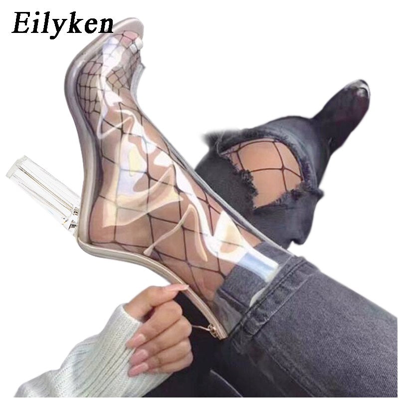 abe5a510136 Hover to zoom · Eilyken Sexy PVC Transparent Boots Sandals Peep Toe Kim  Kardashian Shoes Clear Chunky heels ...