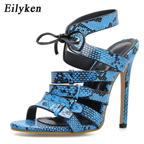 Eilyken Women High Heels Sandals Snake Skin High Heels Slippers Summer Party Shoes Sexy Lace-Up Woman Sandals Size 35-40