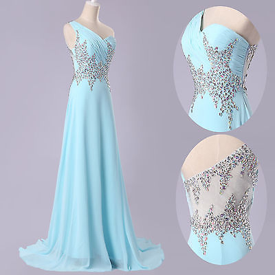Image of Elegant Dress Womens Fashion Mesh Spliced Solid Color One Shoulder High Street Diamond Cocktail Party Dress Wedding Bridal Gown