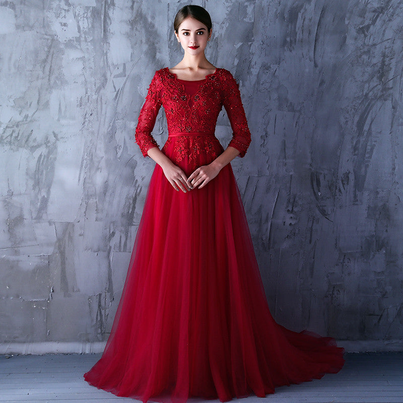 a390f3a4a47 Elegant Long Evening Dress Red Long Sleeve Formal Dresses Tulle Appliques Wine  Red Long Party Dress. Hover to zoom