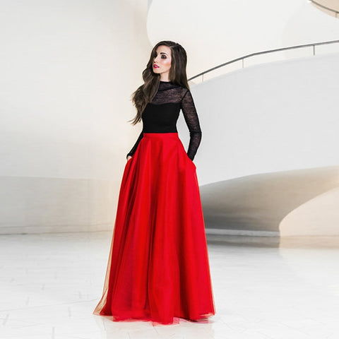 Elegant Maxi Tulle Skirt with Pockets High Waist Floor Length Red Long Skirts Womens Tutu Formal Prom Party Skirt Custom Made