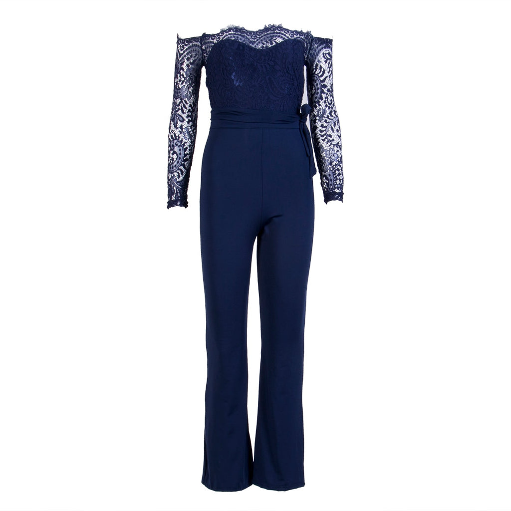 72d6edf9b7 ... Elegant Off shoulder Lace Rompers Womens Summer Jumpsuit Sexy Ladies  Casual Long Trousers Overalls White Jumpsuit ...